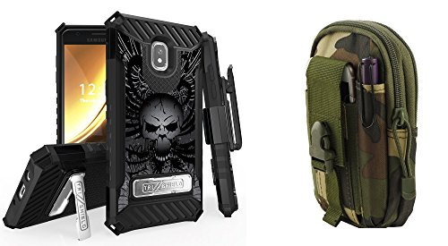 BC Tri-Shield Case Compatible Samsung Galaxy J3 Orbit - Military Grade Kickstand Holster Case (Skull Wings) Jungle Camo Tactical MOLLE Pack Atom Cloth Samsung Galaxy J3 Orbit