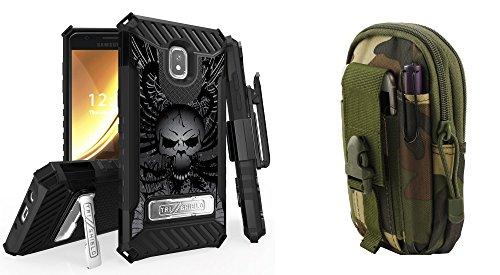 BC Tri-Shield Case Compatible Samsung Galaxy J3 Orbit - Military Grade Kickstand Holster Case (Skull Wings) Jungle Camo Tactical MOLLE Pack Atom Cloth Samsung Galaxy J3 - Jungle Wings