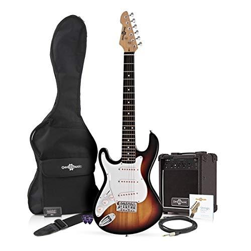 3/4 LA Left Handed Electric Guitar + 10W Amp Pack, Sunburst Gear4music