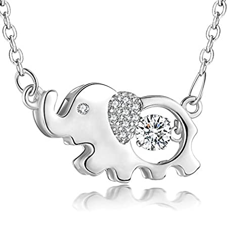 YAXING Sterling Silver Good Luck Elephant with Twinkling Cubic Zirconia Pendant Necklace 18