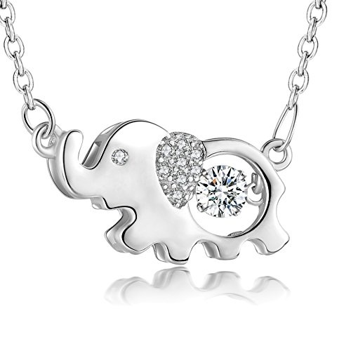 Vancleef Costume (YAXING Sterling Silver Good Luck Elephant with Twinkling Cubic Zirconia Pendant Necklace 18