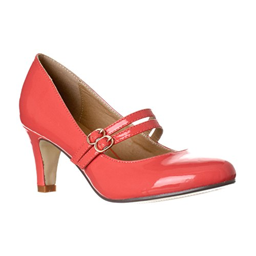 Riverberry Women's Mila Chunky, Mid Heel Mary Jane Pump Heels, Coral Patent, 6.5