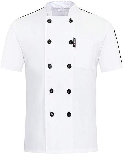 Freahap Chaqueta de Cocinero Básica Unisex para Verano, Camiseta de Chef de Manga Corta Uniforme de Trabajo para Chef Cocina de Restaurante Hotel: Amazon.es: Ropa y accesorios