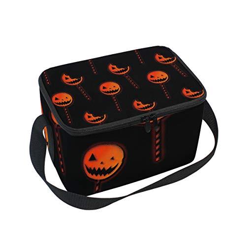 Lunch Bag Halloween Lollipop, Large Insulated Bento Cooler Box with Black Shoulder Strap for Men Women Kids, BaLin 10
