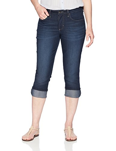 Riders by Lee Indigo Women's Rolled Cuff Midrise Denim Capri, Dark wash, 14 AVG