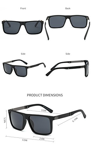 DONNA Trendy Oversized Square Aviator Polarizd Sunglasses Wayfarer Style with Big Unbreakable Frame and Anti-glare Lens D54(Black Lens/Matte-Black arms) by DONNA (Image #4)