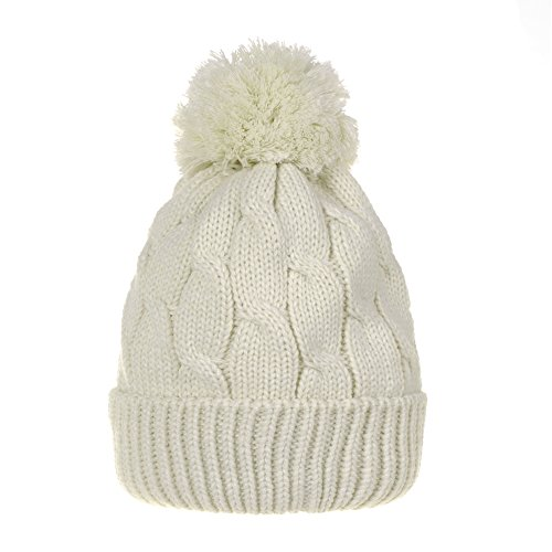 Knit Stocking Cap - WITHMOONS Knitted Twisted Cable Bobble Pom Beanie Hat Slouchy AC5474 (White)