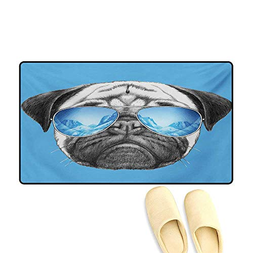 (Door-mat,Pug Portrait with Mirror Sunglasses Hand Drawn Illustration of Pet Animal Funny,Bathroom Mat for Tub Non Slip,Pearl Blue Black,24
