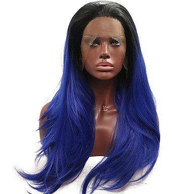 Peluca de encaje sintético para mujer, larga, recta, color azul natural, peluca