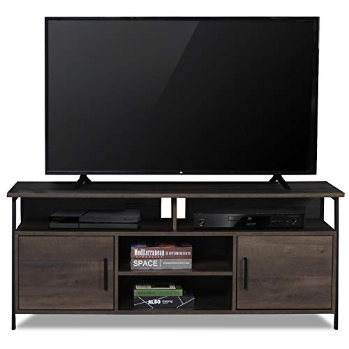 Sekey Home 58 Entertainment Center Wood Media TV Stand Storage Console, Smoky Oak