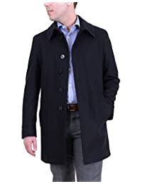 Apollo King Solid Navy Blue Wool Full Length Overcoat Top Coat