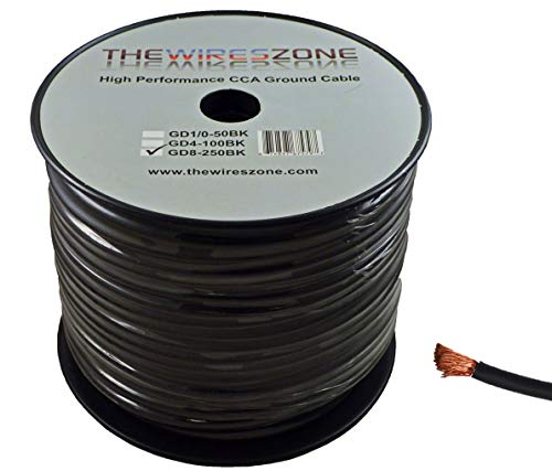 - 8 Gauge 250 Feet Wire High Performance Flexible Amp Power Ground Cable 8 AWG (Black)
