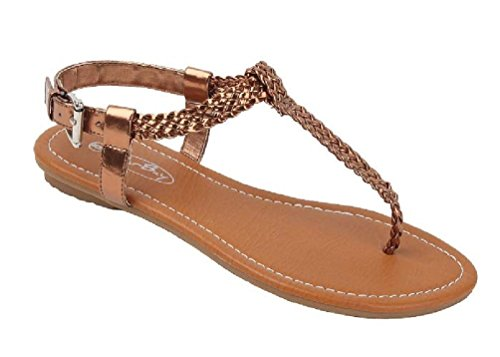 - Shoes 18 Womens Braided Roman Gladiator Sandals Flats Thongs Shoes 2221 Bronze 7