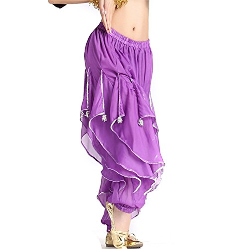 Belly Dance Chiffon Silver Trim Rotation Pants Dancing Tribal Harem Costume dark Purple (Dark Dance Costumes)