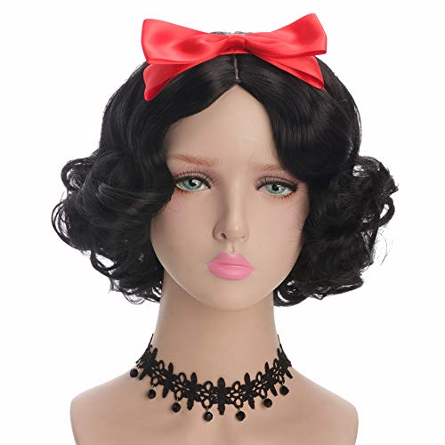 Yuehong Short Curly Black Wig Cosplay Wig Synthetic Halloween Anime Cosplay Party Hair Wigs With -