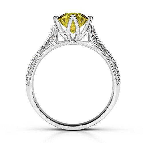 G-H/VS 1CT Coupe ronde sertie de diamants Saphir Jaune et bague de fiançailles en platine 950Agdr-1205