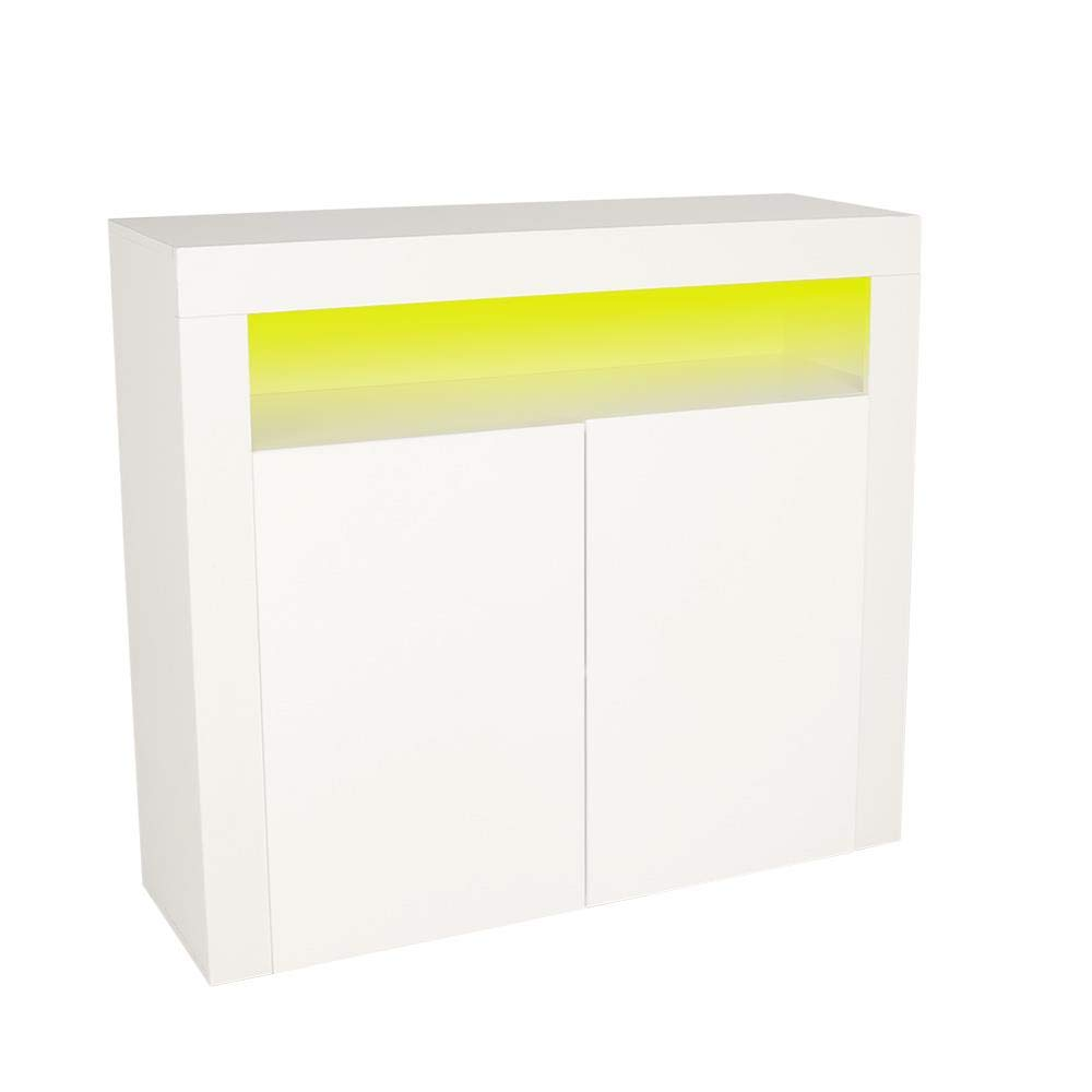Wido 2 Door White Gloss Sideboard With LED Lighting Cabinet Cupboard Furniture Living Room Storage