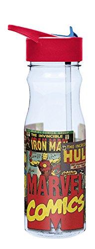 Fad Habit Marvel Comics 25 oz Tritan Water Bottle with Flip-Up Spout and Straw ()