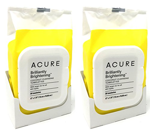 Oil Towelettes - Acure Coconut + Argan Oil Cleansing Towelettes for Face and Body Pack of 2 (60 Towelettes Total)