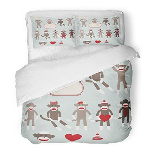 Sock Monkey Bedding Set - Emvency Bedding Duvet Cover Set Full/Queen (1 Duvet Cover + 2 Pillowcase) Cute Sock Monkeys Heart Retro Sitting Boy Girl Hat Label Hotel Quality Wrinkle and Stain Resistant