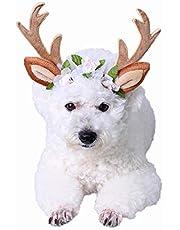 PEDOMUS Dog Cat Costume Christmas Headband Christmas Reindeer Antlers Cat Dog Headwear with Flowers