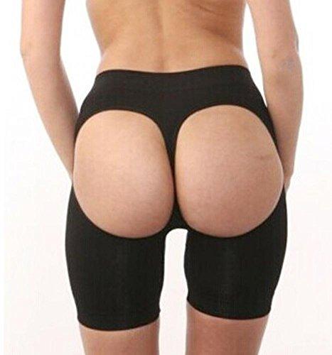 [ZHLONG Women 's Seamless sexy bodysuit Sculpting Hip high - bottom Exposed ass Shapewear Shorts Thong , black ,] (Bum Shorts Costume)