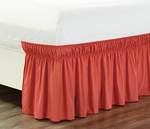 """Wrap Around 21"""" inch long fall CORAL ORANGE Ruffled Elastic Solid Bed Skirt Fits All QUEEN, KING and CAL KING size bedding High Thread Count Microfiber Dust Ruffle, Soft & Wrinkle Free."""