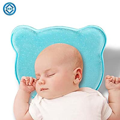 Baby Memory Foam Pillow, QHGC Newborn Pillows for Toddler Sleeping to Protect Neck and Head Shaping