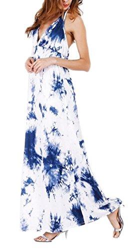 Tie Womens Long Beach Halter Dress Backless Neck Dye Blue V Jaycargogo X6PxqpX