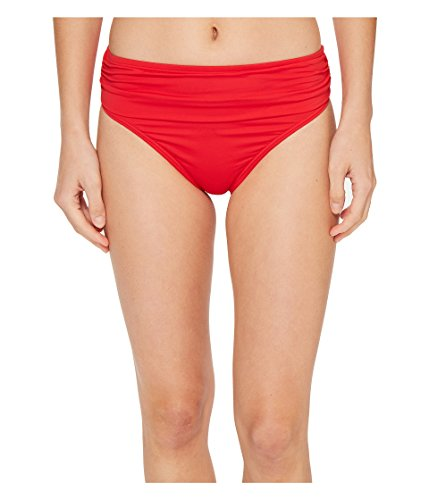 Tommy Bahama Women's Pearl High-Waist Hipster Bikini Bottom Poppy Red Swimsuit (Bahama Bikini Top)