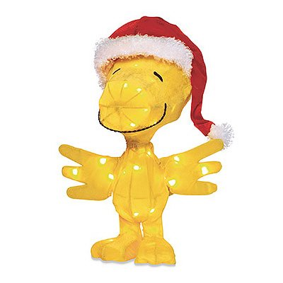 Product Works Peanuts 3D Pre-Lit Woodstock in Santa Hat Christmas Yard Art, 18-Inch, 35 - Lit Pre Decorations Christmas