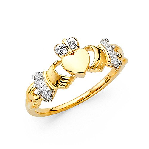 Ioka Jewelry - 14K Yellow Solid Gold 10MM Cubic Zirconia CZ Irish Claddagh Ring - size 4.5