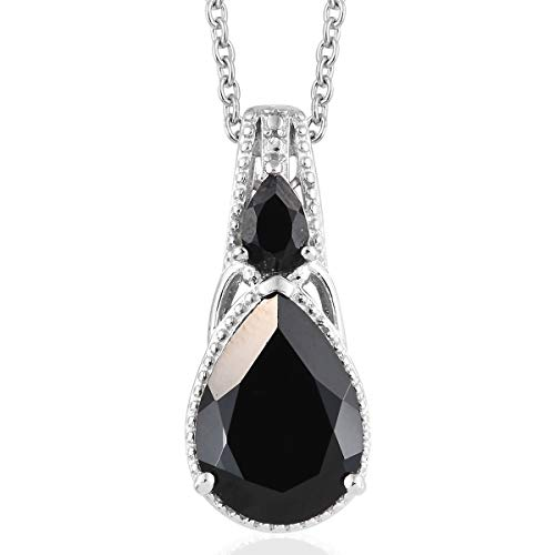 Stainless Steel Pear Black Spinel Magnetic Clasp Chain Pendant Necklace for Women 20