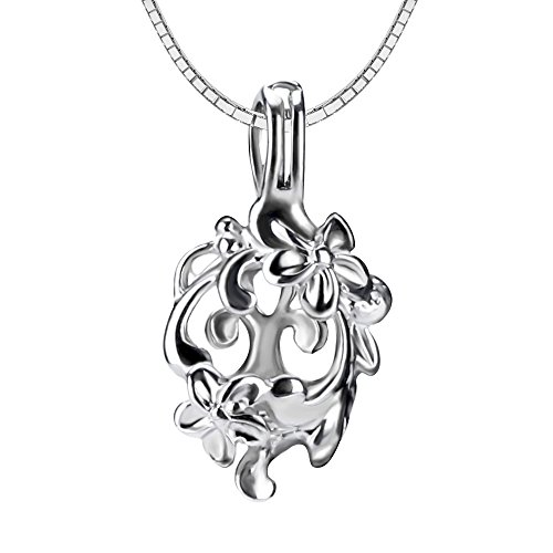 NY Jewelry 925 Sterling Silver Blossom Pendants for Pearl, Flower Design Pearl Cage Pendants for Women Girls Gift DIY Jewelry -