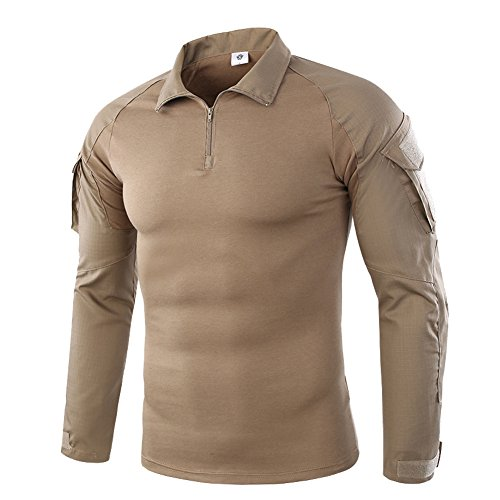 K-Men Men's Tactical Performance Polo Khaki Long Sleeve Moisture Wicking Shirt S