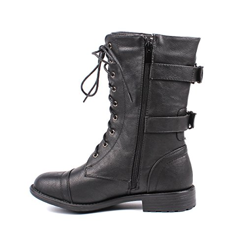 Shoes Boots Zip Combat Womens Military up Black Leather Faux Womens Winter Lace Mid Fashion Buckle Calf Boots f0qYZZ