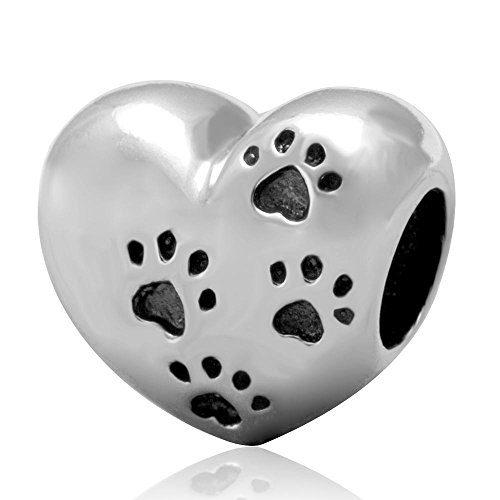 Pet Paw Bead Charm Original 100% Authentic 925 Sterling Silver My Sweet Pet Heart Beads fit for DIY Charms Bracelets (Charm Sweet Pet)