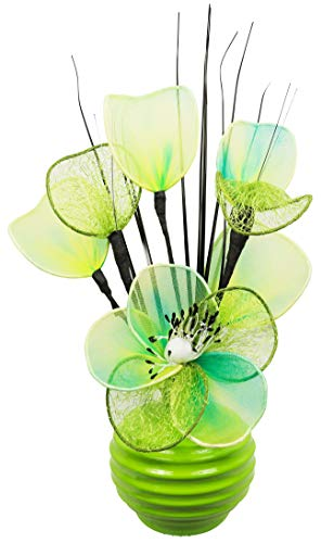 Green Vase with Lime Green Artificial Flowers, Ornaments for Living Room, Window Sill, Home Accessories, 32cm