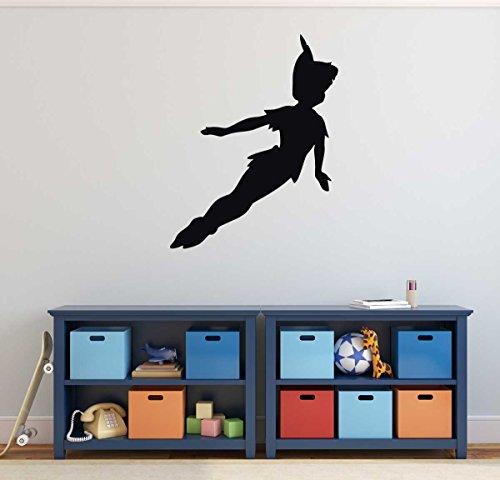 Peter Pan Wall Decal Vinyl Sticker, Disney Flying to Neverland Character Art Silhouette for Kids Playroom, Bedroom, Nursery (Preschool Halloween Storytime)