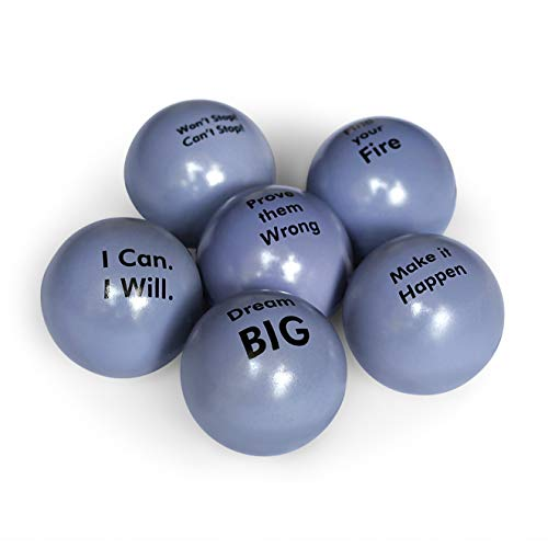 Motivational Stress Balls | Squeeze Toy Gift 6 Pack | Fidget Accessory for Stress Relief, Special Needs, Concentration, Anxiety, Motivation, ADHD, ADD, Autism and Team Building (Blue Grey) (Stress Balls For Adults)