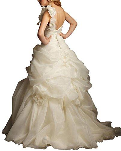 Brautkleider Elfenbein A Satin Organza GEORGE Traegerlos Zug BRIDE Elegante Hochzeitskleider Gericht ueber Linie 6qvZAf7w