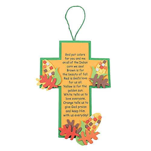 Fun Express - The Legend of Indian Corn Cross Craft for Fall - Craft Kits - Hanging Decor Craft Kits - Sign Decoration Craft Kits - Fall - 12 Pieces