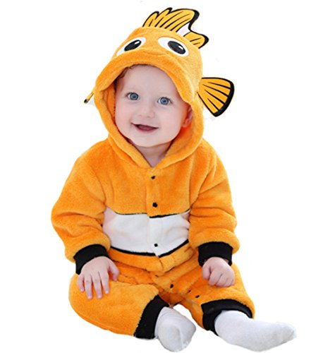 Tonwhar Baby Onesie Costume Animal Romper (90 Ages 12-18 Months, Fish) -