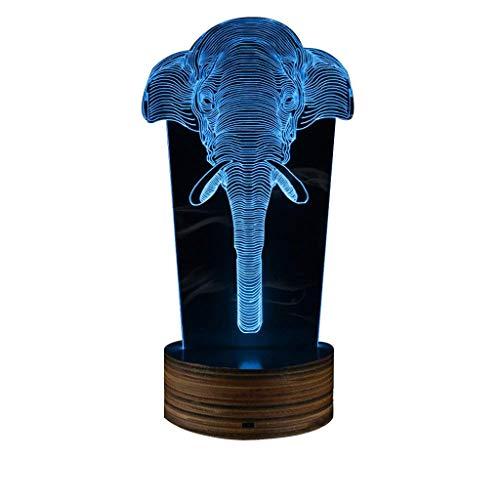 Carl Artbay Elephant 3D Night Light, Bedroom Decor Desk Lamp LED Light Acrylic Lamp Animal Safari Souvenir Remote Control USB LED Lights