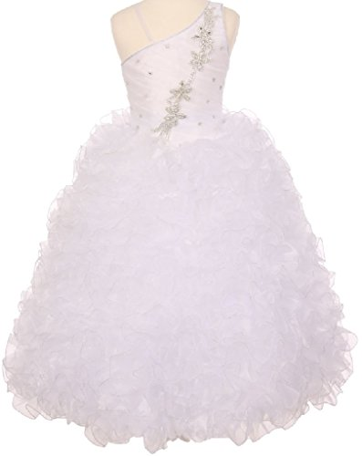 Little-Girls-One-Shoulder-Strap-Pageant-Gown-Flowers-Girls-Dresses