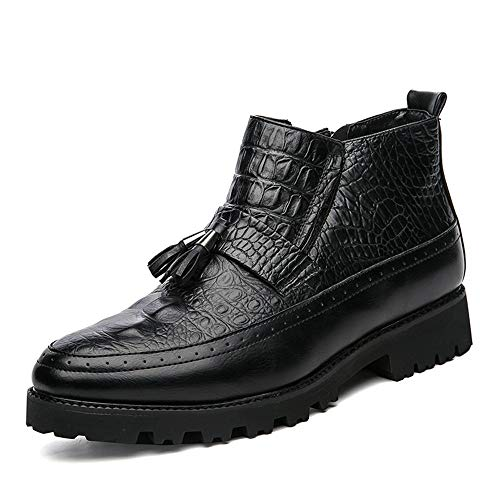Crocodile Tassel - Hilotu Men's Fashion Ankle Work Boot Casual Personality Crocodile Classic Tassel High Top Boot Anti-Slip (Color : Black, Size : 8.5 D(M) US)