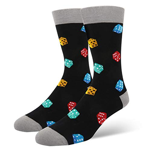 Happypop Men's Novelty Cool Crazy Funny Lucky Crew Socks Fun Dice Casual Cotton Dress Socks in Black ()