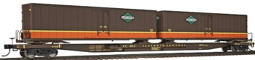 Walthers Gold Line(TM) HO Scale Mark III Flexi-Van Flatcar  with Two Trailers Ready to Run Illinois Central #903
