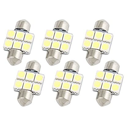 Amazon.com: eDealMax 6Pcs 31mm 5050 SMD 6 LED Blanco bóveda del Adorno de la luz interna 3022 3021: Automotive