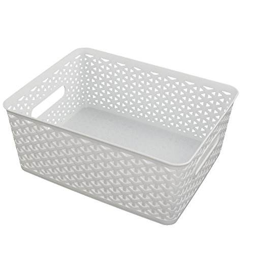 HOMMP Woven Plastic Storage Basket, White, Set of (White Plastic Storage Basket)